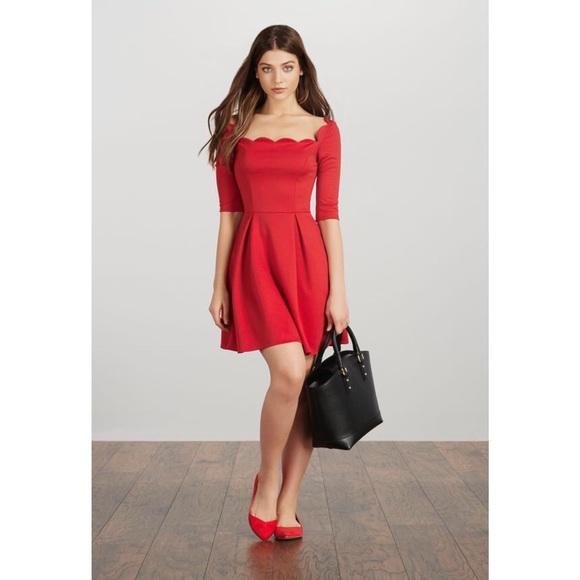 e22c88c9bd275 JustFab Dresses | Fit Flare Dress In Geranium | Poshmark